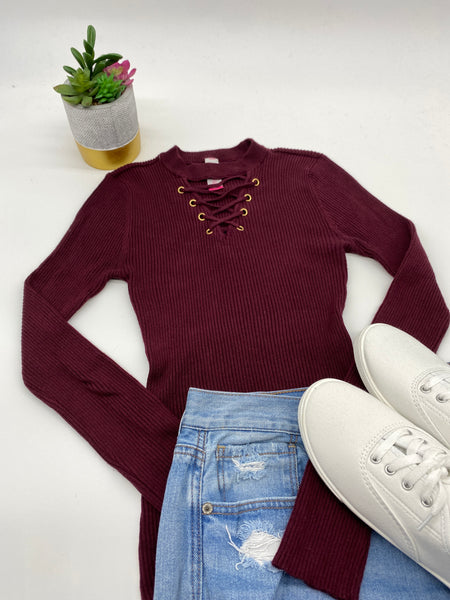Maroon Long Sleeves Long Top Blouse (Size S)