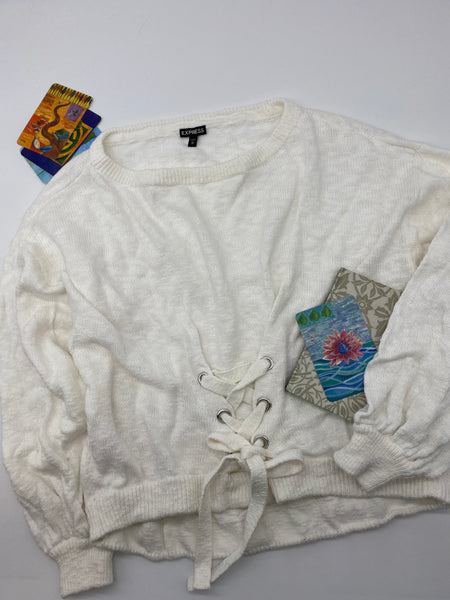 White Knit Tie Sweater (Size M)