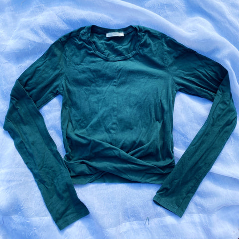 Cropped Green Long Sleeve Top