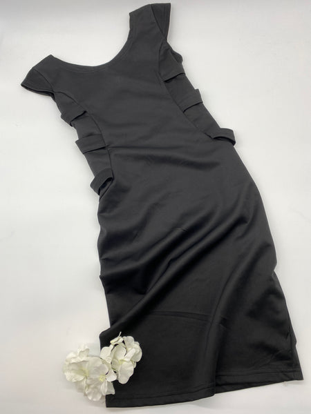Black Short Sleeves Tie Dress (Size S)