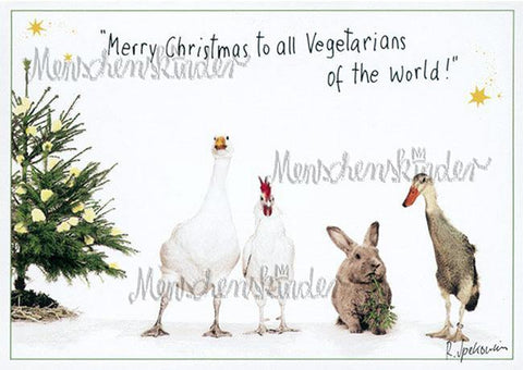 Postkarte - Merry Christmas to all Vegetarians von Modern Times