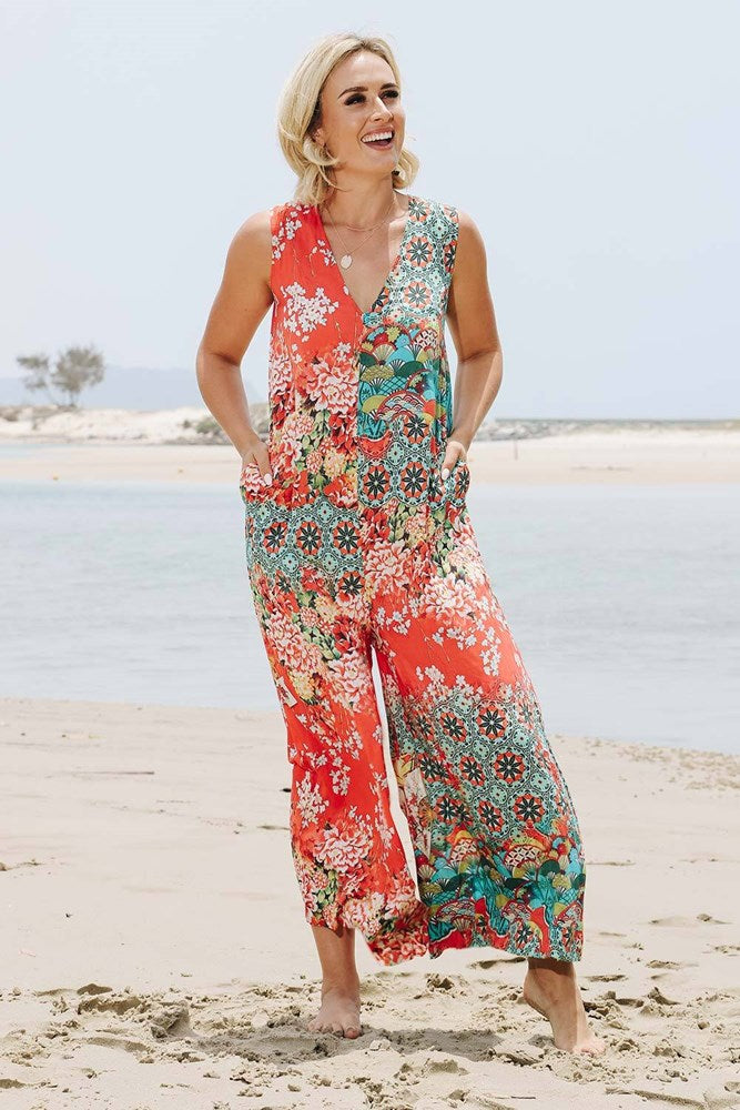 Yoko Jumpsuit Red - Kabana Shop