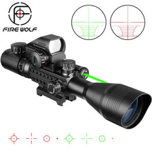 Load image into Gallery viewer, Fire Wolf 4-12x50 Scope  Illuminated Rangefinder  Holographic 4 Reticle Sight 20mm Red Green Laser For Hunting