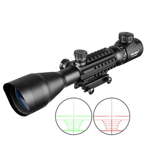 Fire Wolf 4-12x50 Scope  Illuminated Rangefinder  Holographic 4 Reticle Sight 20mm Red Green Laser For Hunting