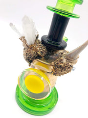 Smoke Station Water Pipe 20-Carat Gold Plated 20-Carat Gold-Plated Hand-Blown American Rig With a Shark Tooth