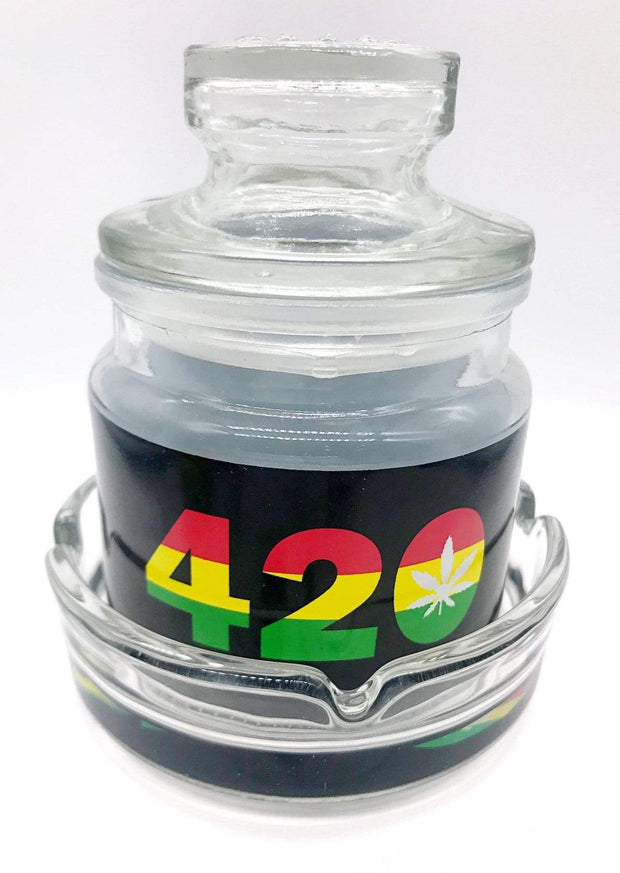 Smoke Station Accessories 420 420 & Leaf Ashtray and stash jar set