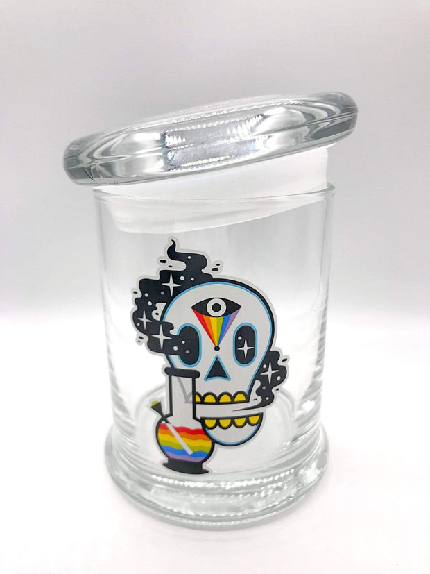 Smoke Station Accessories Cosmic Skull 420 Science Pop-Top KIller Acid Thick Airtight Jar - Medium