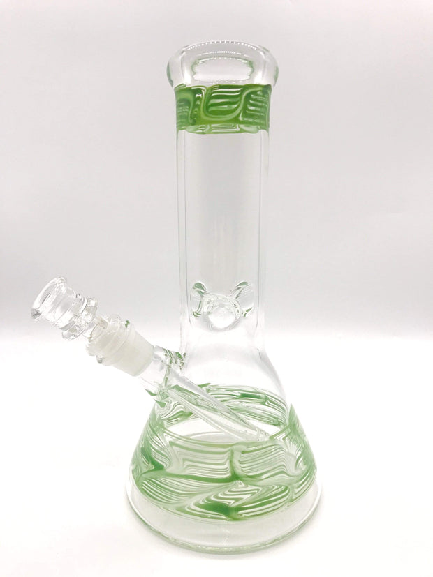 "Smoke Station Water Pipe Green 5mm Thick American Color Water Pipe (10"" tall 14mm)"