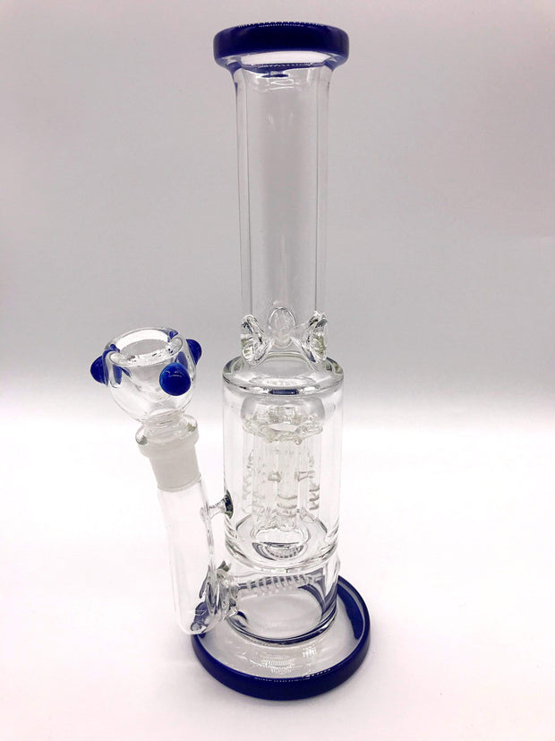 Smoke Station Water Pipe Dark-blue 5mm Thick Scientific Water Pipe with Dual Perc and Ice Catch