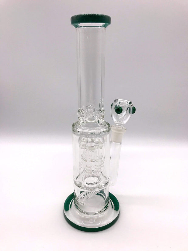 Smoke Station Water Pipe Dark-green 5mm Thick Scientific Water Pipe with Dual Perc and Ice Catch