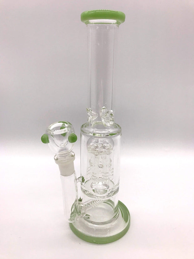 Smoke Station Water Pipe Green 5mm Thick Scientific Water Pipe with Dual Perc and Ice Catch