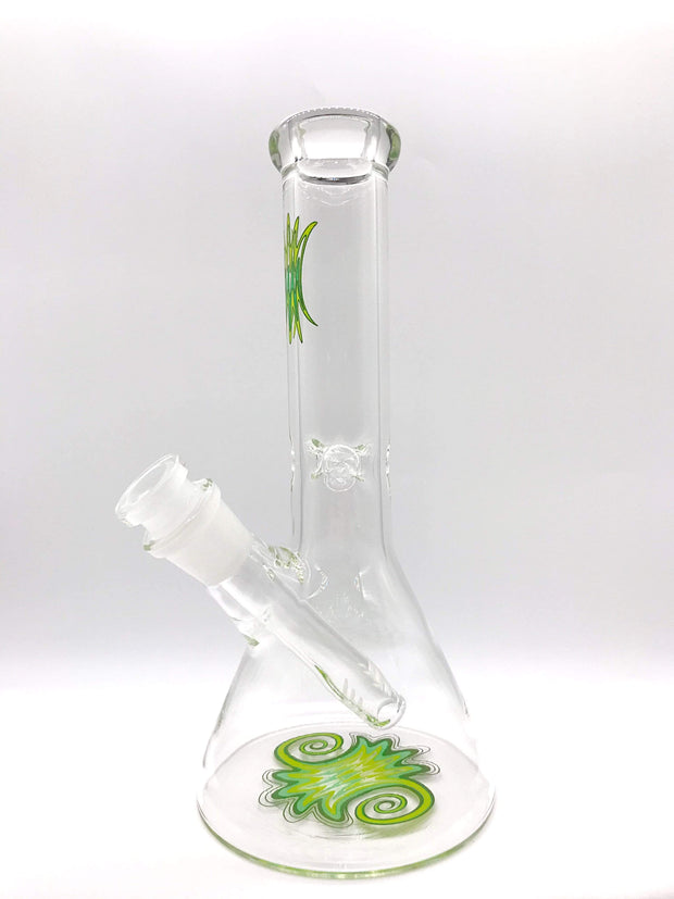 "Smoke Station Water Pipe Green 8"" Pinched Wigwag Beaker Water Pipe"