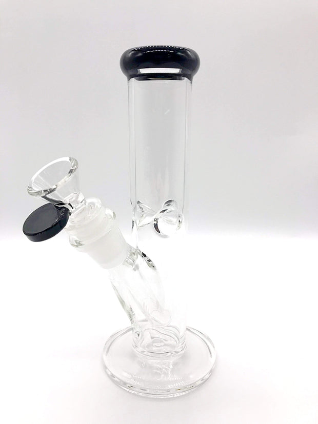 "Smoke Station Water Pipe Black 8"" Straight tube with American color and ice pinch"
