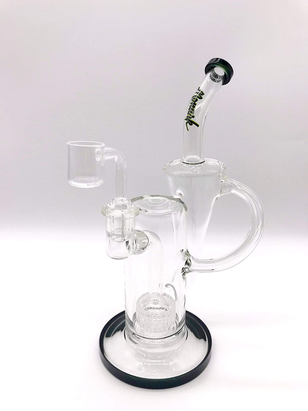 Smoke Station Water Pipe Clear-Black American Matrix Perc Recycler Rig