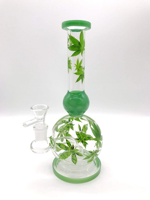 Smoke Station Water Pipe Clear-Green Cannabis Leaf Showerhead Banger Hanger Water Pipe