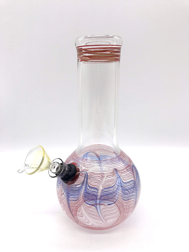 "Smoke Station Water Pipe Red-Blue Classic bulb beaker water pipes with rake (8"" tall)"