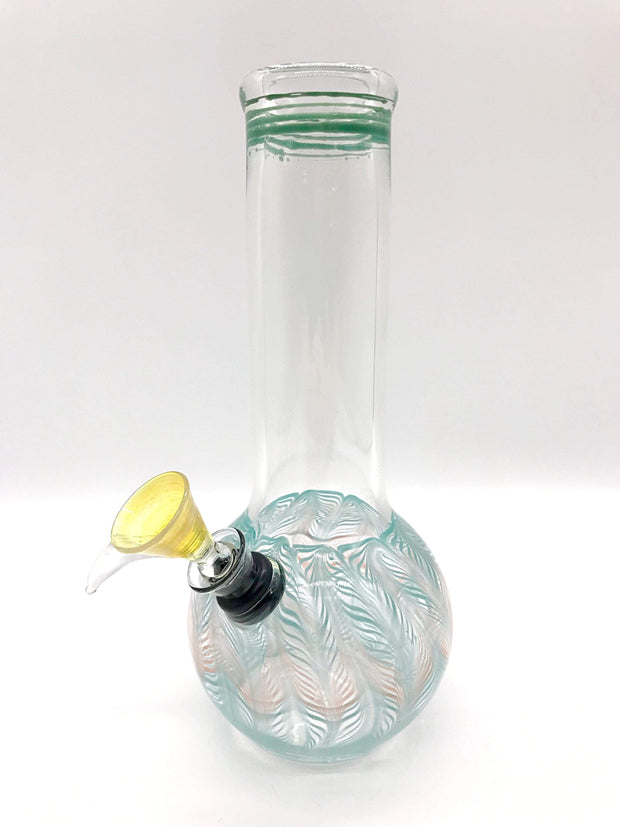 "Smoke Station Water Pipe Teal-Orange Classic bulb beaker water pipes with rake (8"" tall)"