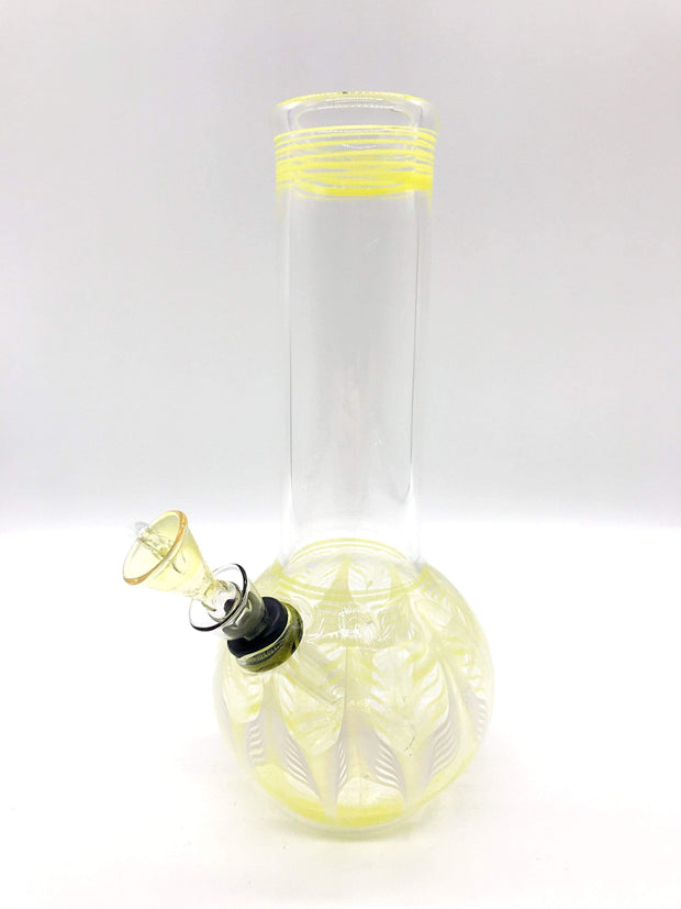 "Smoke Station Water Pipe White-Yellow Classic bulb beaker water pipes with rake (8"" tall)"