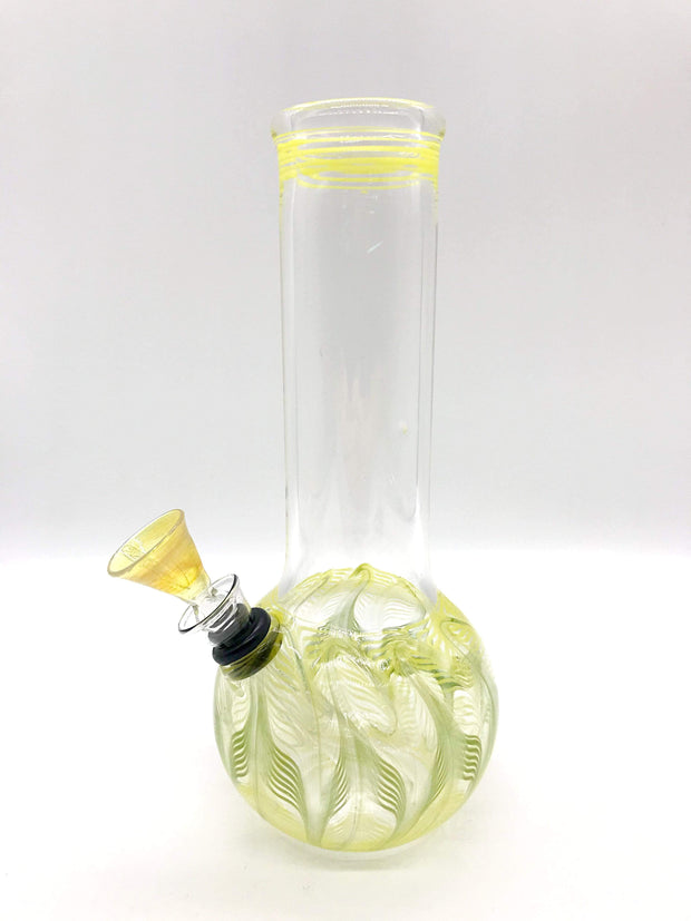 "Smoke Station Water Pipe Yellow-Green Classic bulb beaker water pipes with rake (8"" tall)"