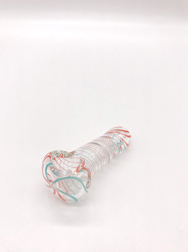 Smoke Station Hand Pipe Red-Teal Clear Spoons with Frit Work