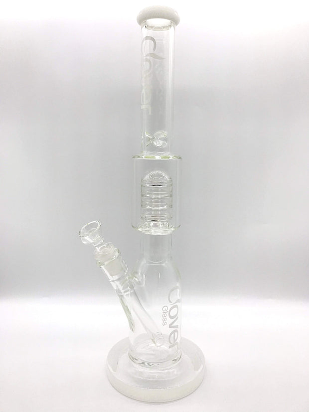 "Smoke Station Water Pipe Clear Clover Glass 18"" Tall Percolated Beaker"