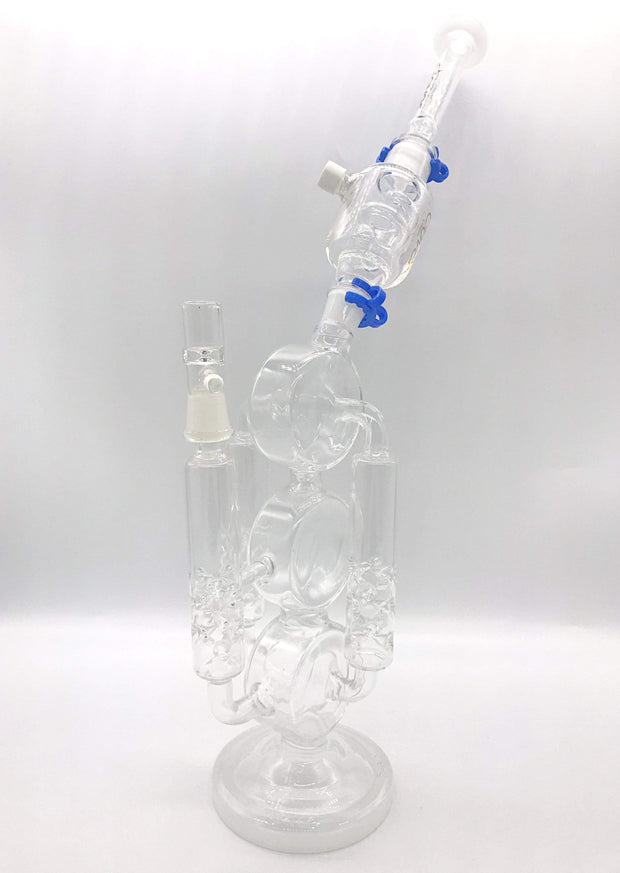 Smoke Station Water Pipe Clear Clover Glass Scientific Recycler Water Pipe