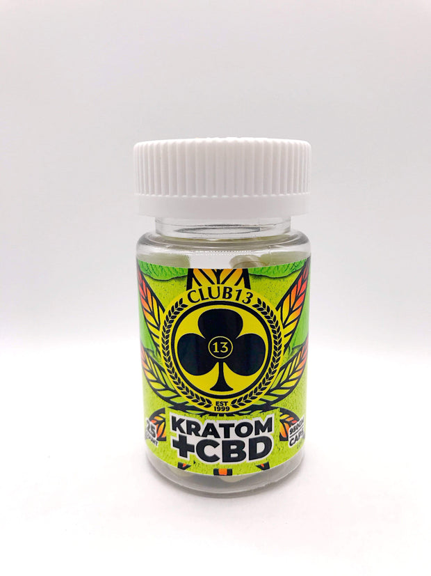 Smoke Station Kratom 25 Count Club 13 Kratom + CBD Blend Capsules