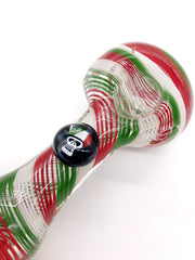 Smoke Station Hand Pipe Green-White-Red Dope Freak Borosilicate Spoon Hand Pipe