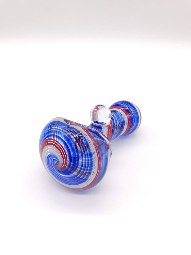 Smoke Station Hand Pipe Blue-Red Dope Freak German Borosilicate Millie Spoons