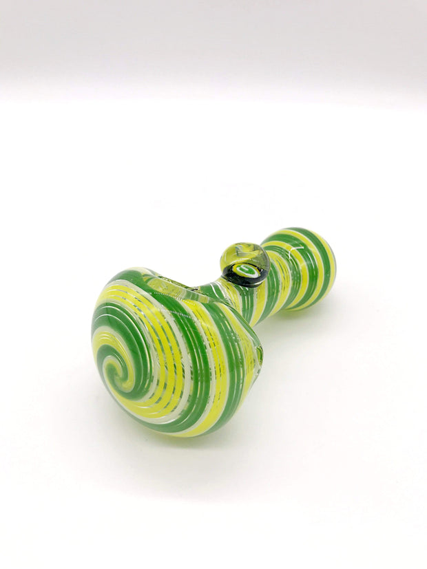 Smoke Station Hand Pipe Green-Yellow Dope Freak German Borosilicate Millie Spoons