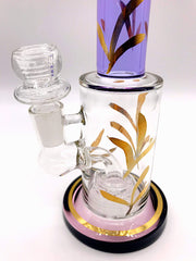 Smoke Station Water Pipe Full-Color Gold-Accent Thick Water Pipe with Perc