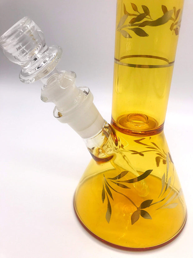 Smoke Station Water Pipe Full-Color Gold Leaf-Accented Beaker
