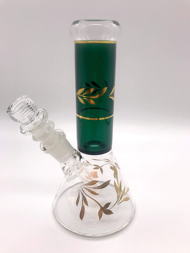 Smoke Station Water Pipe Clear and Green Full-Color Gold Leaf-Accented Beaker