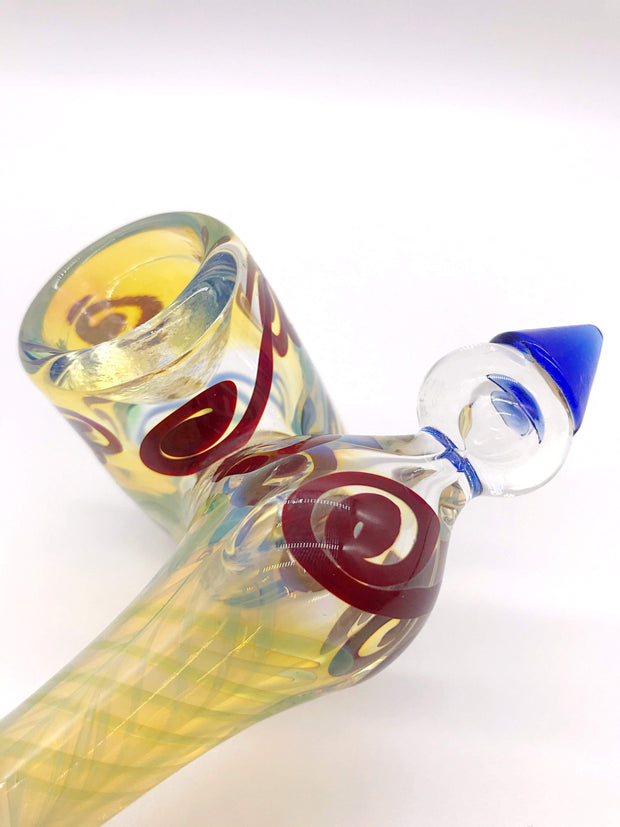 Smoke Station Hand Pipe Fumed Fumed Sidecar Hand Pipe with Linework