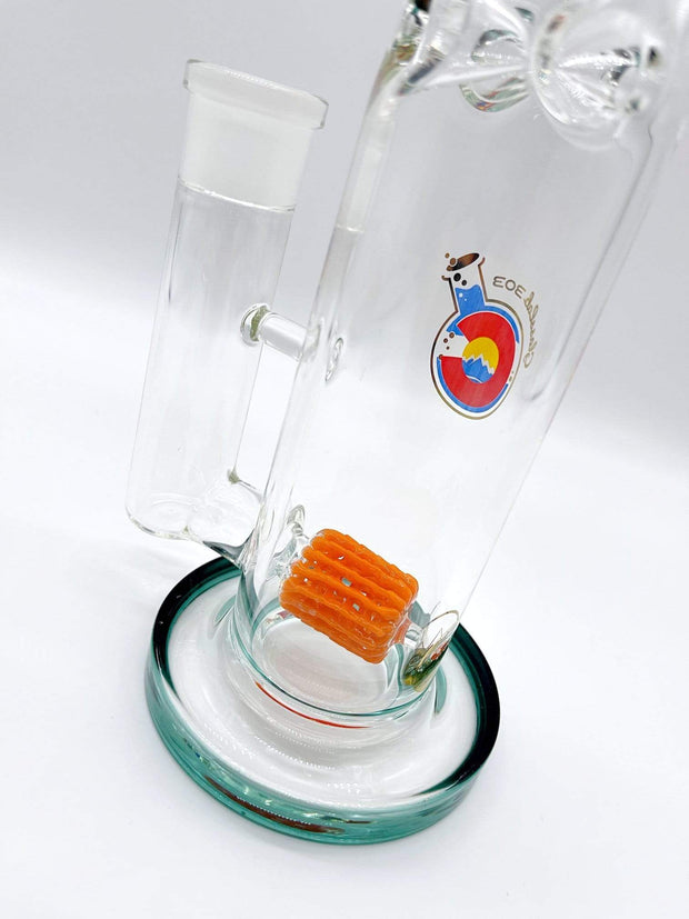 Smoke Station Water Pipe Glass Lab 303 Lace Dagger Frit Perc American Water Pipe