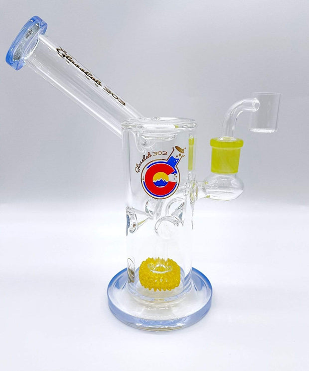 Smoke Station Water Pipe Baby-Blue Glass Lab 303 Percolated American Banger Hanger Sidecar Rig