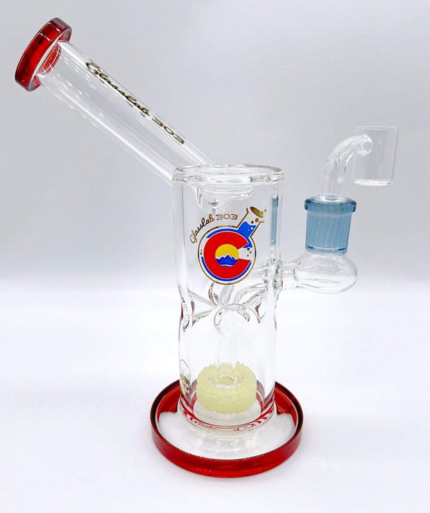 Smoke Station Water Pipe Red Glass Lab 303 Percolated American Banger Hanger Sidecar Rig