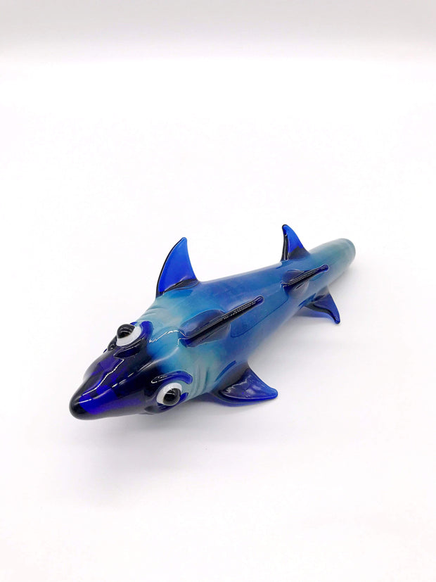 Smoke Station Water Pipe Blue Goofy Shark Spoon Hand Pipe