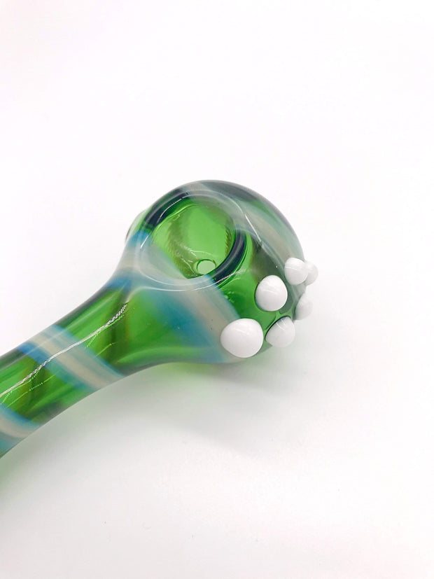 Smoke Station Hand Pipe Green Green Spoon with Creamy Stripe Hand Pipe