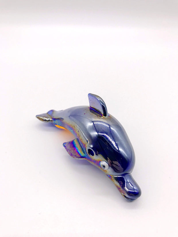 Smoke Station Hand Pipe Blue Hand-Blown American Borosilicate Dolphin Hand Pipe