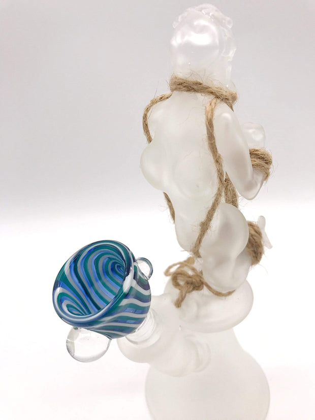 Smoke Station Water Pipe Hand-Blown American Naked Woman Bondage Rig
