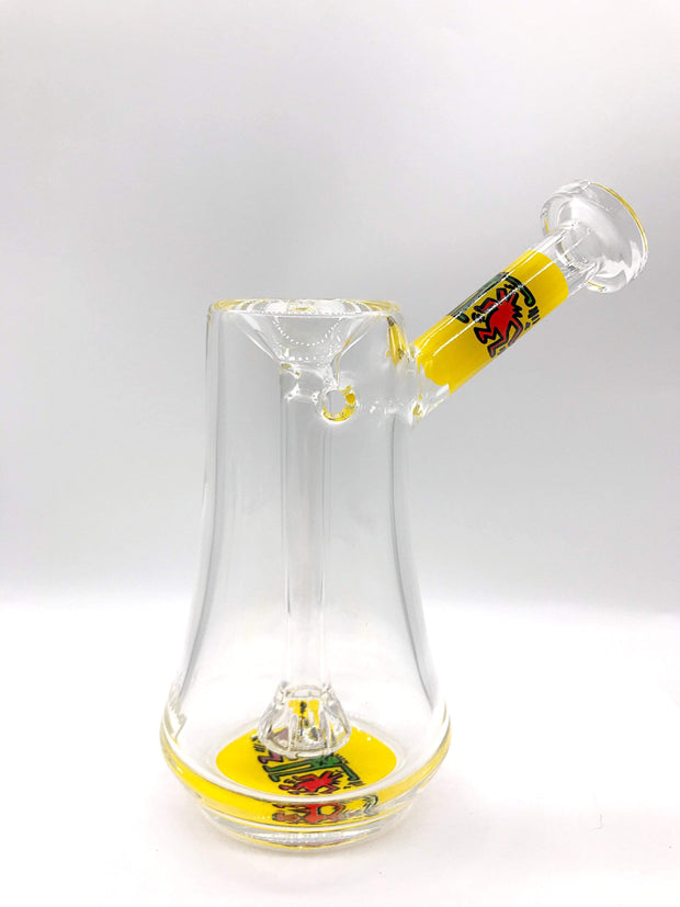 Smoke Station Water Pipe Yellow Keith Haring Borosilicate Bubblers