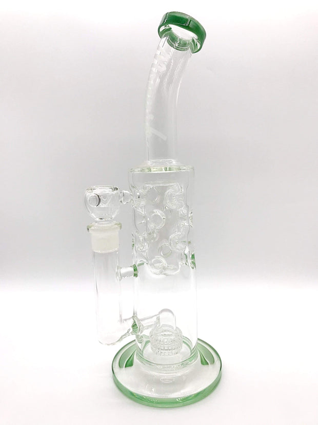 Smoke Station Water Pipe Green Monark 9mm Thick Tube with Matrix and Faberge Percs