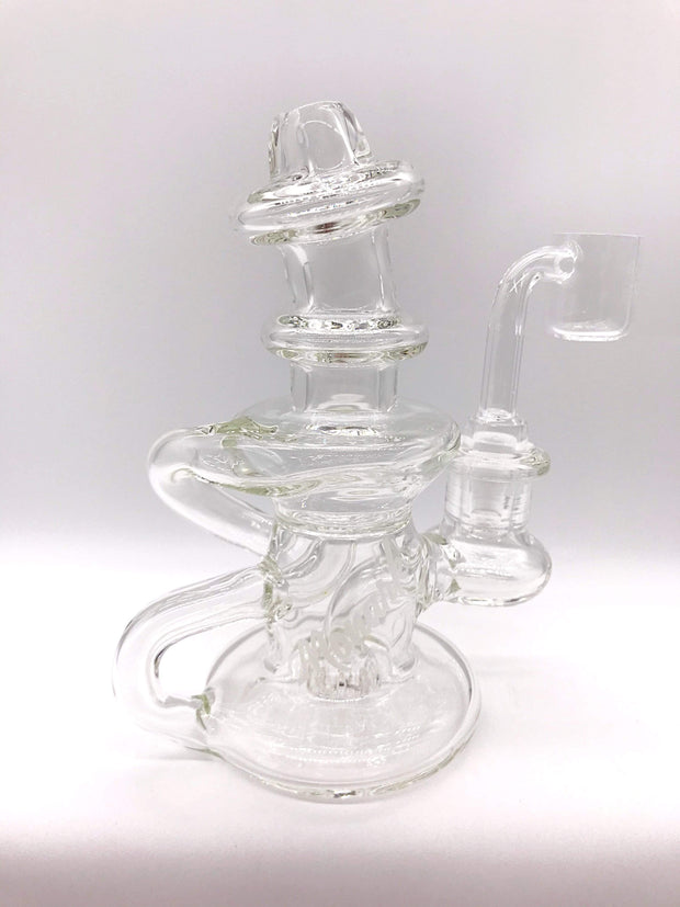 Smoke Station Water Pipe Clear Monark Mini-Cycler Rig with Protruding Flat Mouthpiece