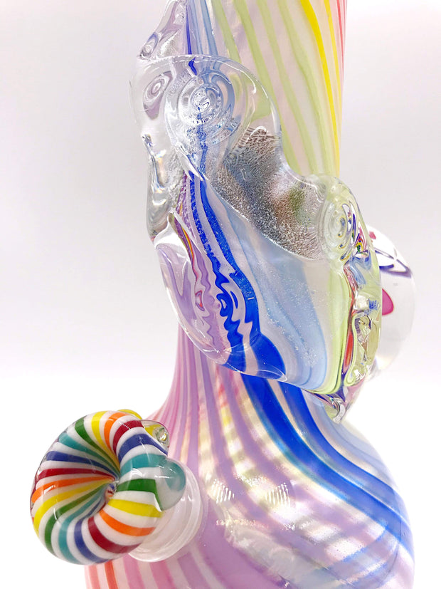 Smoke Station Water Pipe Noble Glass Limited Edition Rainbow Cane Marble Water PIpe