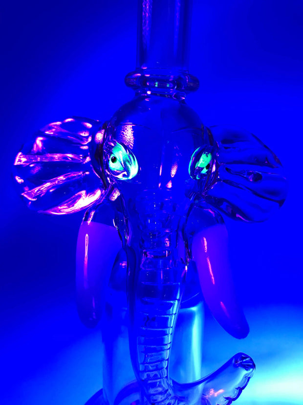 Smoke Station Water Pipe Pink Pink Elephant Rig with UV-Reactive Eyes
