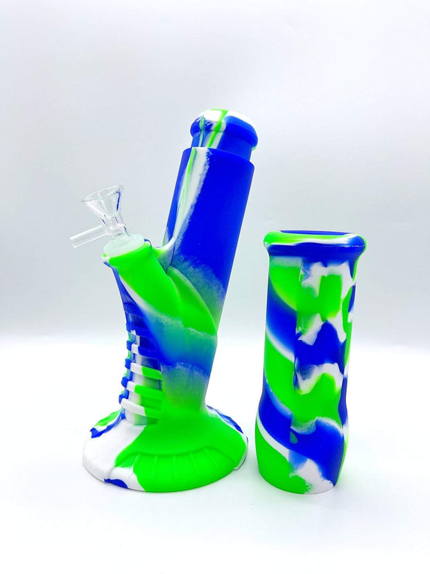 Smoke Station Water Pipe Green Blue Psychedelic Silicone Water Pipe