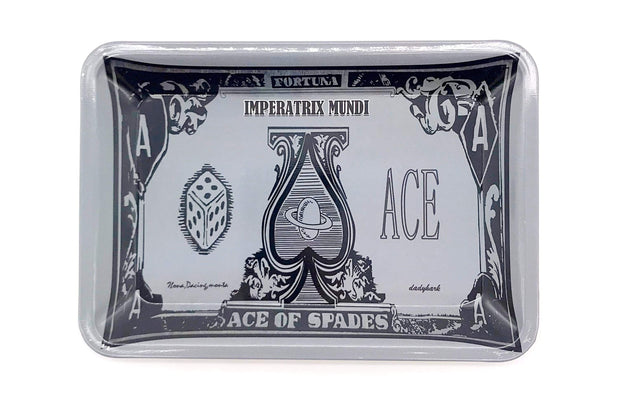 Smoke Station Accessories Dice (7in x 5in) Small Metal Rolling Tray with Ace of Spades Design