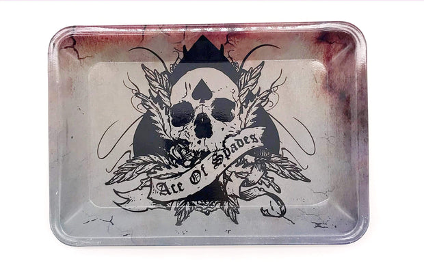 Smoke Station Accessories Skull (7in x 5in) Small Metal Rolling Tray with Ace of Spades Design