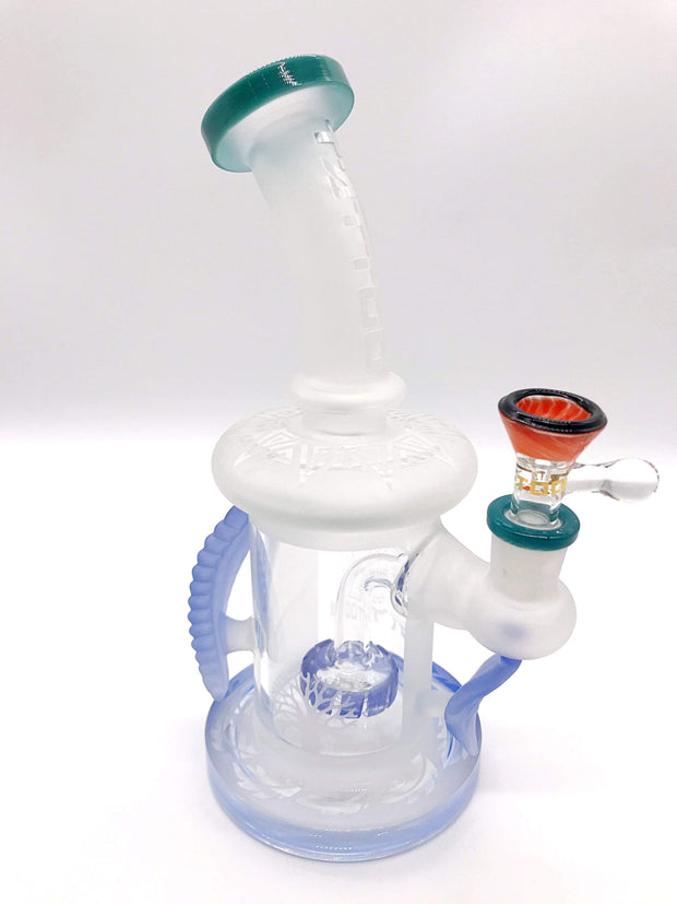Smoke Station Water Pipe Tattoo Glass Sandblasted Tree Pattern Rig